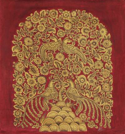 Red and Gold Indian Acrylic on Canvas Painting of Nature