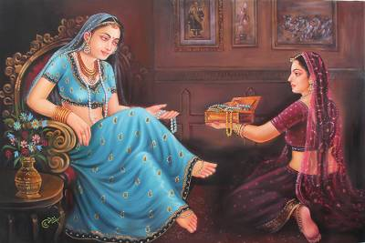 'Princess of Rajasthan' - Classic Rajasthani Princess Signed Painting from India Art