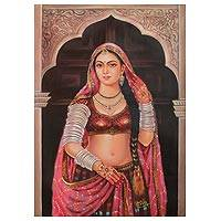 'Rajasthani Chura' - Rajasthani Bride by the Window Signed Painting from India