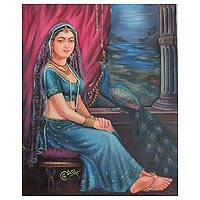 'Queen of Jaipur' - Classic Jaipur Queen Signed Painting from India Art