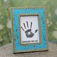 Wood photo frame, 'Delightful Blue' (5x7) - Blue Wood Glass and Brass 5x7 Photo Frame from India
