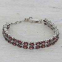 Garnet tennis bracelet, 'Fiery Glam' - 41 Garnets on 925 Silver Tennis Bracelet Jewelry from India