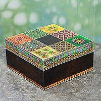 Decorative wood box, 'Jodhpur Blast' - Indian Artisan Crafted Painted Wood Decorative Box and Lid