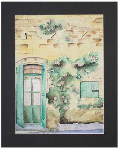 'The Doorway' - Watercolor Country Scene on Paper by Indian Artist