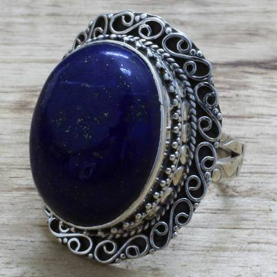 silver love ring vs - Hand Made Sterling Silver Lapis Lazuli Cocktail Ring India