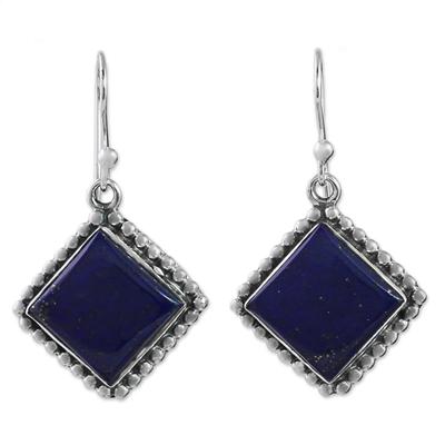 Kite Shaped Sterling Silver Lapis Lazuli Dangle Earrings