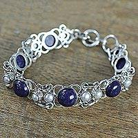 Cultured pearl and lapis lazuli link bracelet, 'Twilight Garden' - Lapis Lazuli and Cultured Pearl Sterling Silver Bracelet