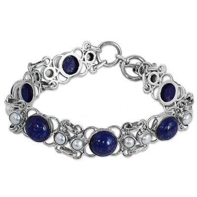Lapis Lazuli and Cultured Pearl Sterling Silver Bracelet
