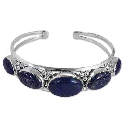 Lapis Lazuli Gemstone and Sterling Silver Cuff Bracelet