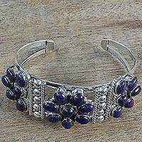 Lapis lazuli flower cuff bracelet, 'Regal Grace' - Lapis Lazuli and Sterling Silver Flower Cuff Bracelet