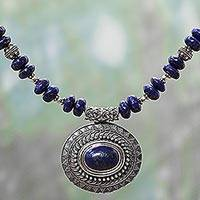 Lapis lazuli and sterling silver pendant necklace,