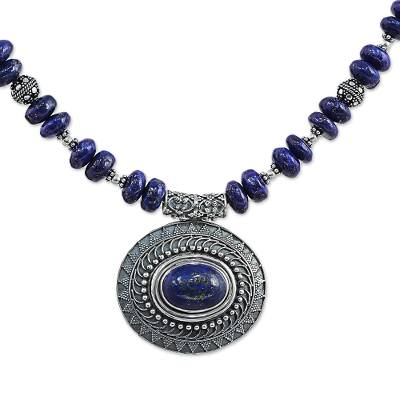 Lapis Lazuli Sterling Silver Beaded Pendant Necklace