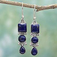 Lapis lazuli dangle earrings, 'Royal Blue Glamour' - Lapis Lazuli and Sterling Silver Multi Shape Dangle Earrings