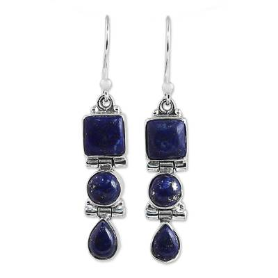 Lapis Lazuli and Sterling Silver Multi Shape Dangle Earrings