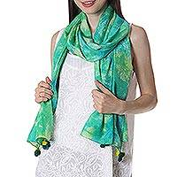 Silk scarf, 'Cool Fascination' - Tie-Dye 100% Silk Scarf Chartreuse Blue from India