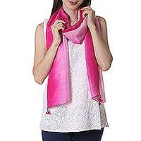 Silk scarf, 'Fuchsia Glamour' - Tie Dye 100% Silk Scarf in Fuchsia and Pale Grey from India