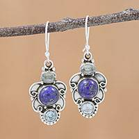 Lapis lazuli and blue topaz dangle earrings, 'Blue Alliance' - Sterling Silver Earrings with Blue Topaz and Lapis Lazuli