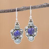 Lapis lazuli and blue topaz dangle earrings,