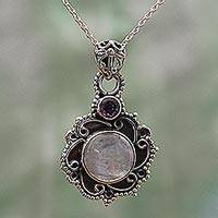 Rainbow moonstone and amethyst pendant necklace, 'Alluring Grace' - Sterling Silver Necklace with Rainbow Moonstone and Amethyst