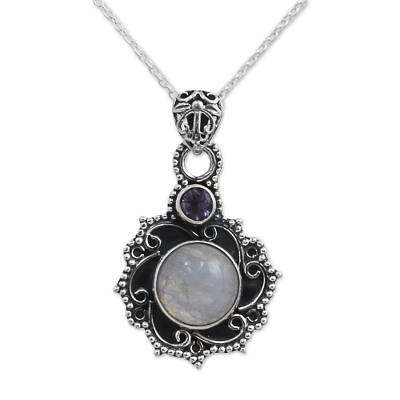 Sterling Silver Necklace with Rainbow Moonstone and Amethyst