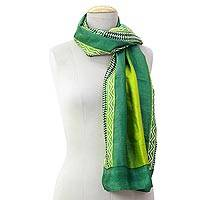 Silk scarf, 'Midnight Muse in Green' - Hand Woven Green Geometric Silk Scarf from India