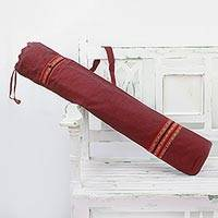 Cotton yoga mat bag, 'Crimson Tranquility' - Striped Cotton Yoga Mat Bag with Strap in Crimson from India