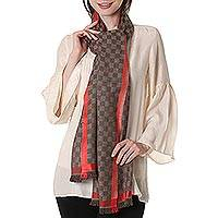 Wool shawl, 'Checkered Mahogany' - Wool Patterned Shawl in Mahogany and Strawberry from India