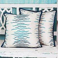 Cotton cushion covers, 'Indian Waves' (pair) - Caribbean Blue Cotton Cushion Covers (Pair) from India