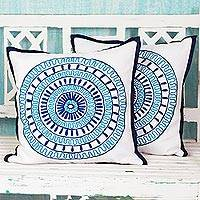 Cotton cushion covers, 'Alluring Blue' (pair) (India)