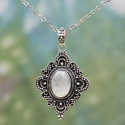 Rainbow moonstone pendant necklace, 'Elegant Mirror' - Rainbow Moonstone Sterling Silver Pendant Necklace India