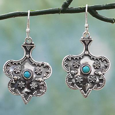Sterling silver dangle earrings, Graceful Mughal Spades