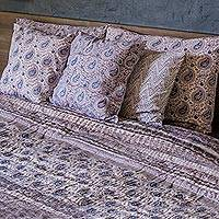 Block printed cotton quilt and pillowcase set, 'Slate Paisleys' (king) - King Quilt and Pillowcase Set with Grey Paisley Motifs