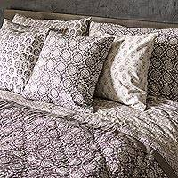 Block print cotton quilt and pillowcase set, 'Warm Palace' - India Blockprint Cotton Quilt and 2 Pillowcases in Grey