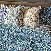 Block printed cotton quilt and pillowcase set, 'Cerulean Paisleys' (king) - King Cotton Quilt and Pillowcase Set in Blue and Green