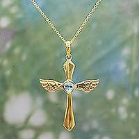 Gold plated blue topaz pendant necklace, 'Wings of Hope' - Blue Topaz 18k Gold Plated Sterling Silver Cross Necklace