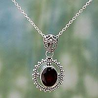 Garnet pendant necklace, 'Red Glamour' - Hand Made Sterling Silver Garnet Pendant Necklace India