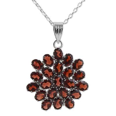 Hand Made Sterling Silver Garnet Pendant Necklace India