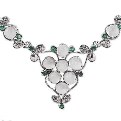 Hand Made Moonstone and Emerald Pendant Necklace from India