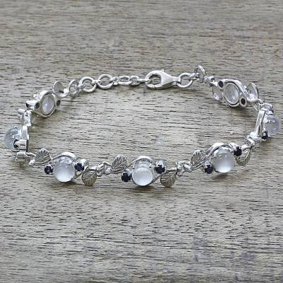 Moonstone and sapphire link bracelet, 'Moon Blue' - Sterling Silver Moonstone Sapphire Link Bracelet India