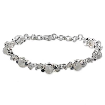 Sterling Silver Moonstone Sapphire Link Bracelet India