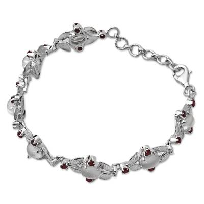 Sterling Silver Moonstone Ruby Link Bracelet India