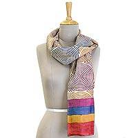 Silk shawl, 'Journey of Life' - Multicolor Silk Shawl with Circle of Life Theme from India