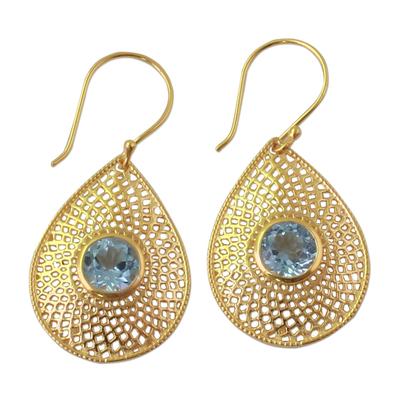 Blue Topaz 18k Gold Plated Teardrop Jali Dangle Earrings