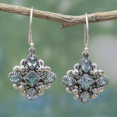 Blue topaz dangle earrings, 'Twinkling Beauty' - Blue Topaz Sterling Silver Dangle Earrings from India