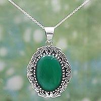 Onyx pendant necklace, 'Magnificent Green' - Hand Crafted Green Onyx Pendant Necklace from India