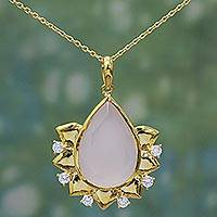 Gold plated rose quartz pendant necklace, 'Royal Corona' - Hand Crafted Gold Plated Rose Quartz Pendant Necklace India