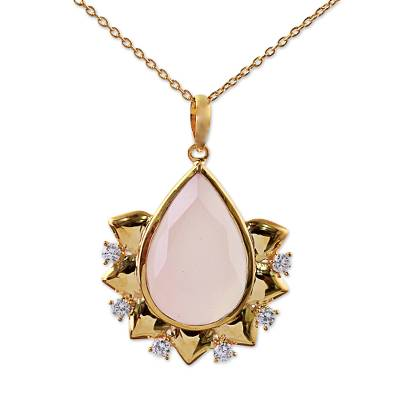 Hand Crafted Gold Plated Rose Quartz Pendant Necklace India