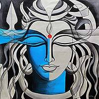 'Shiva' - Mighty Lord Shiva Signed Indian Painting of Hinduism Deity