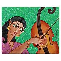 'Chitrini the Art Woman' - Hindu Veda Era Art Woman with Violin Signed Painting