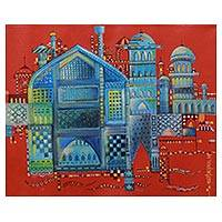 'Blue City' - Painting of Jodhpur in Modern Style Signed by Artist